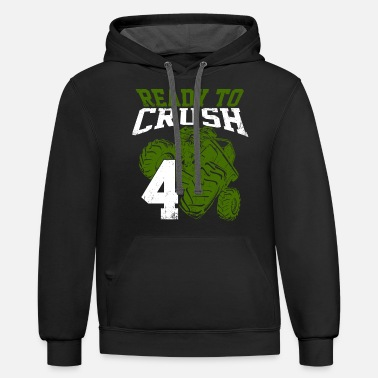 Celebration Kids 4th Birthday Crush Monster Truck Four Wheeler - Unisex Two-Tone Hoodie