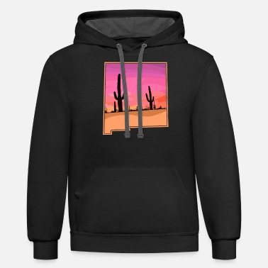 New Mexico Cactus Sunset Desert State Outline - Unisex Two-Tone Hoodie