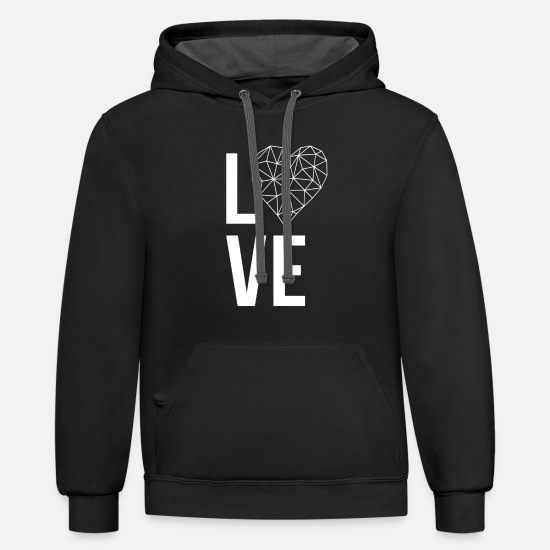 Love Hoodies & Sweatshirts - Love with heart - Unisex Two-Tone Hoodie black/asphalt