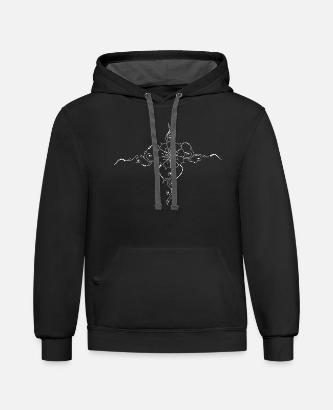 Design Hoodies & Sweatshirts - Henna Boho Design Tattoo white - Unisex Two-Tone Hoodie black/asphalt
