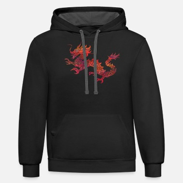 Dragon Red Tribal Dragon Artistic Chinese Dragon Gift - Unisex Two-Tone Hoodie