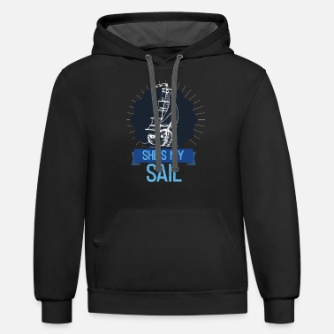 Water Match She's My Sail Matching Couples Saying - Unisex Two-Tone Hoodie