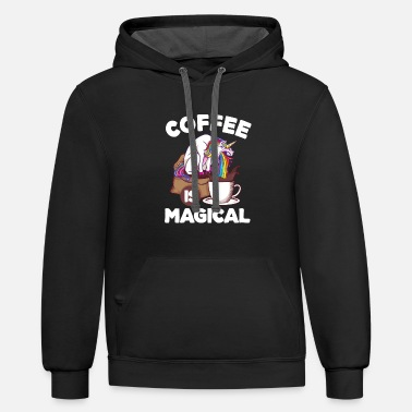 Coffee Caffein Unicorn Coffee Lover Gift - Unisex Two-Tone Hoodie