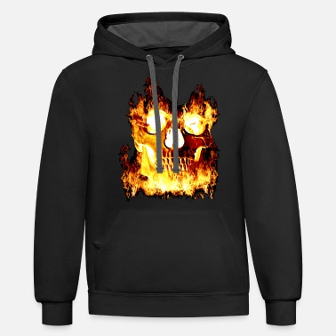 Crossbones Skull in flames - Unisex Two-Tone Hoodie