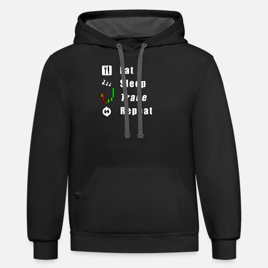 Trade Hoodies & Sweatshirts - Eat Sleep Trade Repeat - Unisex Two-Tone Hoodie black/asphalt