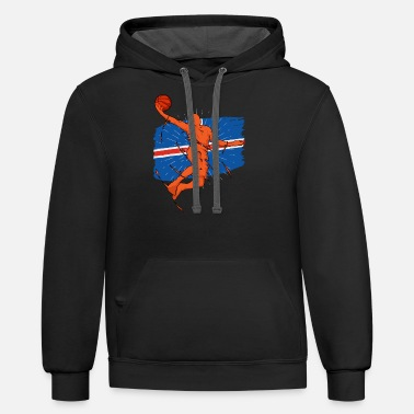 Country Iceland Basketball Player Silhouette Sporty Gift - Unisex Two-Tone Hoodie