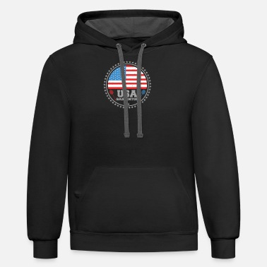 Badminton USA Badminton Racket US Flag Shuttlecock gift - Unisex Two-Tone Hoodie