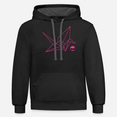 Paper Crane pink paper crane - Unisex Two-Tone Hoodie