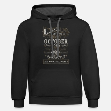 Legends Are Born In October Legends Are Born In October 1960 Birthday - Unisex Two-Tone Hoodie