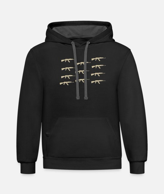 Gun Hoodies & Sweatshirts - Machine gun - Unisex Two-Tone Hoodie black/asphalt