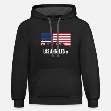 Los Angeles American Flag Los Angeles Skyline - Unisex Two-Tone Hoodie