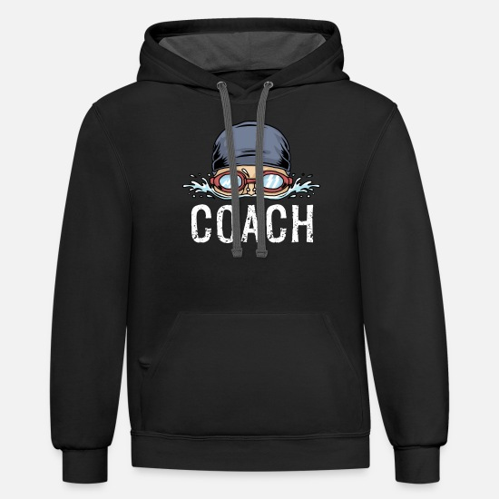 Swim Hoodies & Sweatshirts - Swim Coach Funny Swimming Team Workout Gift - Unisex Two-Tone Hoodie black/asphalt