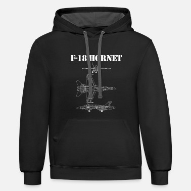 Military F18 Hornet Airplane Schematic In White F-18 Jet - Unisex Two-Tone Hoodie