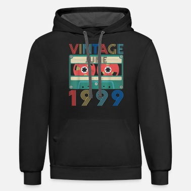 1999 Retro Vintage June 1999 birthday - Unisex Two-Tone Hoodie