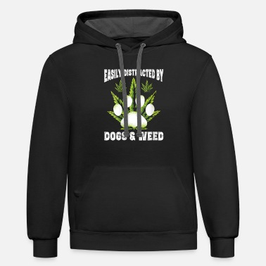 Easily Distracted By Dogs Weed Funny Dog Lover Gif - Unisex Two-Tone Hoodie