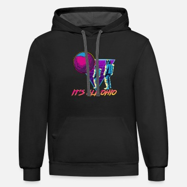 Outrun Style It'S All Ohio Funny Dank Meme 80S Vaporwave Outrun - Unisex Two-Tone Hoodie
