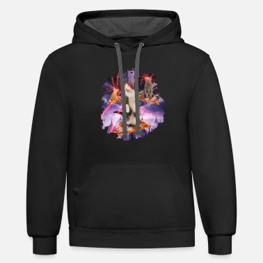 Laser Cats Pizza Kitties - Unisex Two-Tone Hoodie
