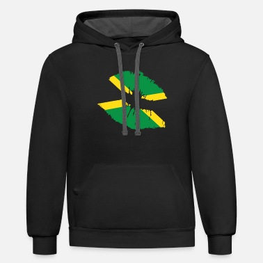 Jamaican Flag Lips Country Pride Jamaica Nationali - Unisex Two-Tone Hoodie