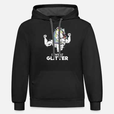 Glitter I Sweat Glitter Cute Unicorn Working Out Shirt T S - Unisex Two-Tone Hoodie