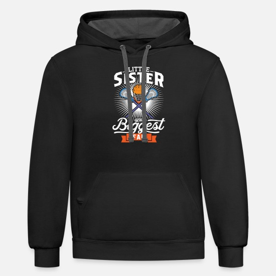 Proud Hoodies & Sweatshirts - Proud Little Sister - Lacrosse Sister - Unisex Two-Tone Hoodie black/asphalt