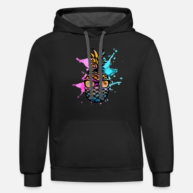 Sunglasses Pineapple with sunglasses - Unisex Two-Tone Hoodie
