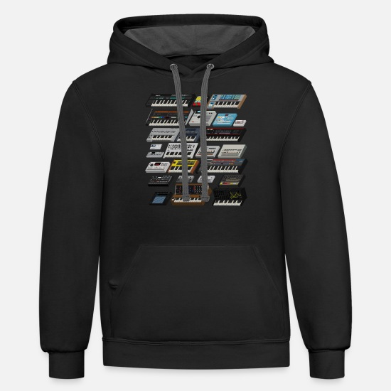 Synthesizer Hoodies & Sweatshirts - Synthesizer and Drum machine Lover - Unisex Two-Tone Hoodie black/asphalt