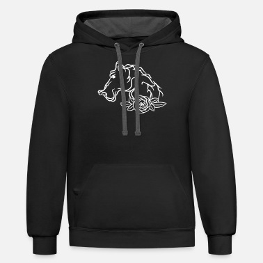Shrimp Line Art Mandala Horse Head Profile Gift - Unisex Two-Tone Hoodie