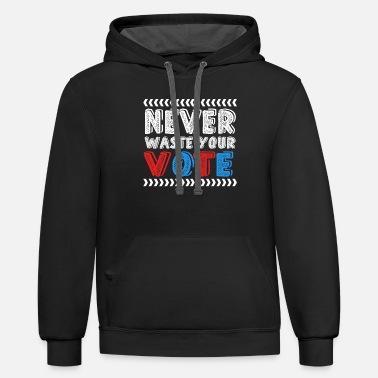 Cheerful Never Waste Your Vote Illustration - Unisex Two-Tone Hoodie