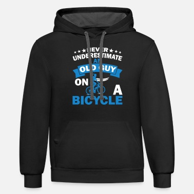 Bicycle Bike Cycling Old Guy - Unisex Two-Tone Hoodie