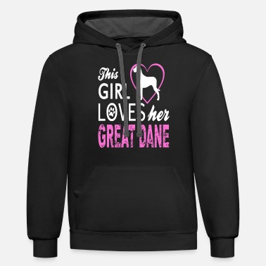 This Girl Loves Her Great Dane Dog Lover Gift - Unisex Two-Tone Hoodie