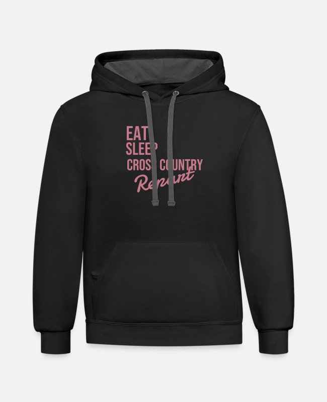 Design Hoodies & Sweatshirts - Eat Sleep Cross Country Repeat - Unisex Two-Tone Hoodie black/asphalt