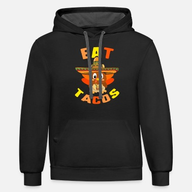 Celebrate Eat Tacos Cute Baby Turkey Wearing Mexican - Unisex Two-Tone Hoodie
