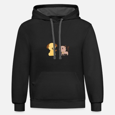 Happiness Cat and dog - Unisex Two-Tone Hoodie