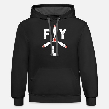 Aviation Fly Propeller Aircraft Aviation - Unisex Two-Tone Hoodie