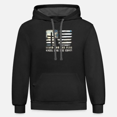 Cross American Stand for the Flag Kneel for the Cross - Unisex Two-Tone Hoodie