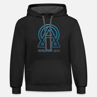 Religious alpha and omega, Christian, Jesus, Bible, Blue - Unisex Two-Tone Hoodie
