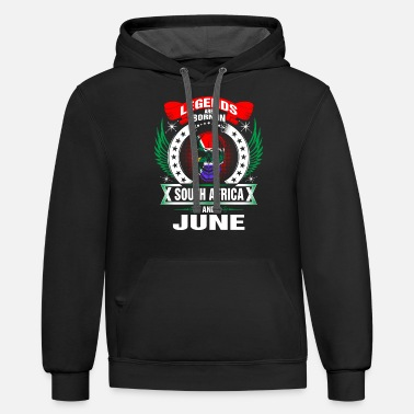South Africa Legends are born in South Africa and June - Unisex Two-Tone Hoodie