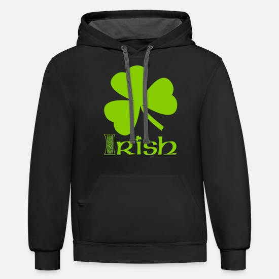 Shamrock Hoodies & Sweatshirts - Shamrock Irish Vector - Unisex Two-Tone Hoodie black/asphalt