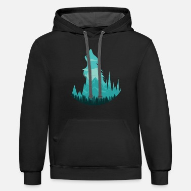 Full Moon Howling Wolf at Full Moon - Silhouette - Unisex Two-Tone Hoodie