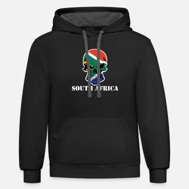 South Africa South African Flag Skull South Africa - Unisex Two-Tone Hoodie