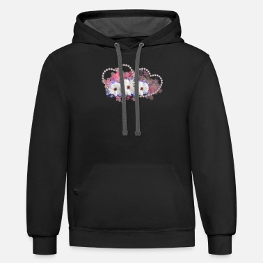 Heart With Flowers Pearl hearts with flowers - Unisex Two-Tone Hoodie