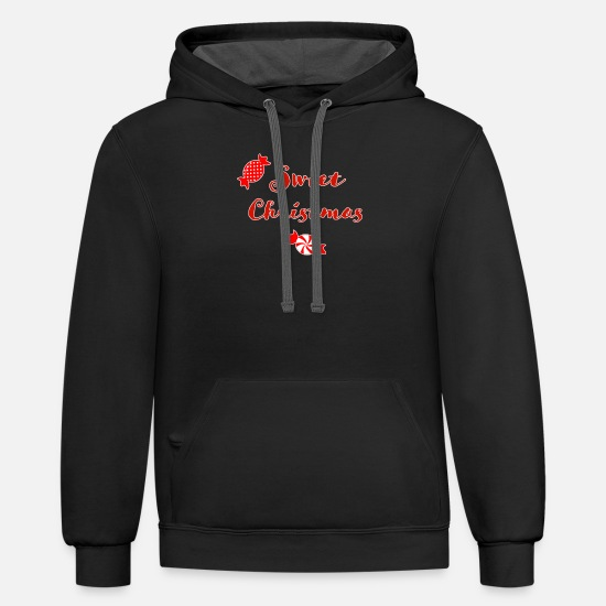 Red Deer Hoodies & Sweatshirts - Sweet Christmas Candies Sweets - Unisex Two-Tone Hoodie black/asphalt