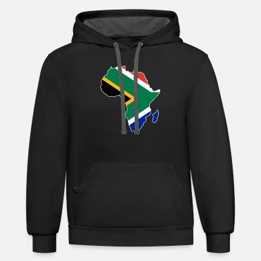 South South Africa Flag In Africa Map - Unisex Two-Tone Hoodie