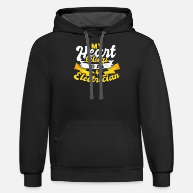 Partner My Heart Belongs To An Electrician Him Her T-Shirt - Unisex Two-Tone Hoodie