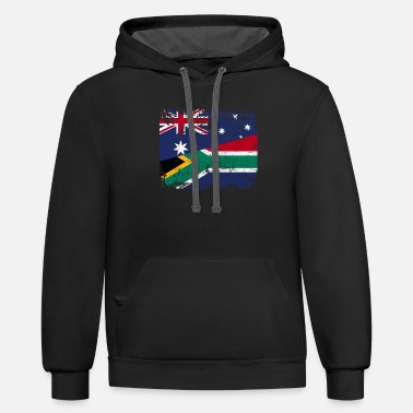Africa AUSTRALIA SOUTH AFRICA FLAG - Half South African - Unisex Two-Tone Hoodie