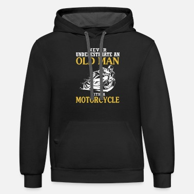 Man OLD MAN WITH A MOTORCYCLE - Unisex Two-Tone Hoodie