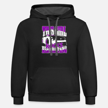 Mustang Christmas Mustang - this girl rocks her mustang awesome tee - Unisex Two-Tone Hoodie