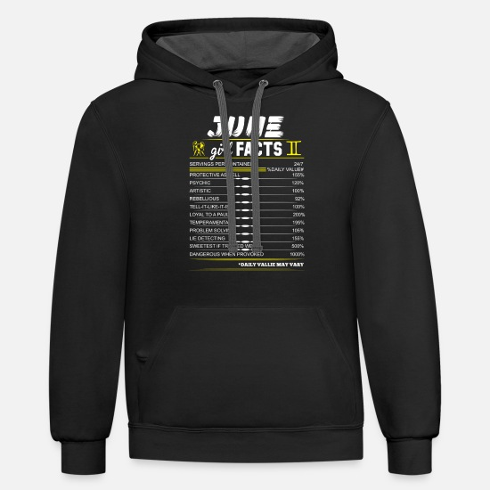 1990 Hoodies & Sweatshirts - June Girl Facts Gemini - Unisex Two-Tone Hoodie black/asphalt