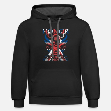 Uk UK Viking Honor Live Brave Fear Nothing - Unisex Two-Tone Hoodie