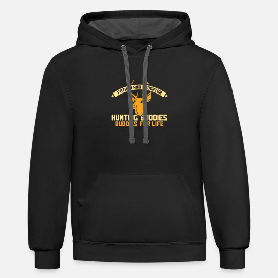 Elk Hoodies & Sweatshirts - HUNTING: Hunting Buddies For Life - Unisex Two-Tone Hoodie black/asphalt
